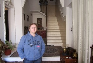 Mara - owner of Mara House Luxor standing in the entrance hall
