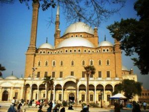 Tourists and Egyptians entering the Mohamed Ali Mosque at Saladin's Citadel, Old Cairo