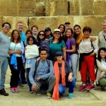 group of 18 people in front of Great Pyramid, Cairo, Egypt