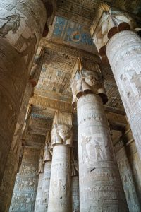 Ceiling and top of the huge columns - Each column has Head of Hathor carved